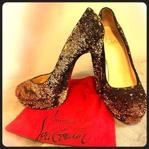"Christian Louboutin ""Bianca"" Platform Pump in Gold"